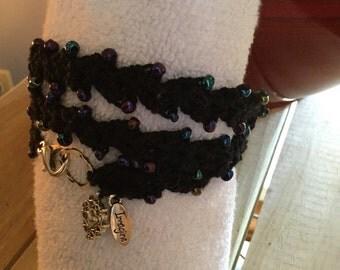 Blacked beaded crochet bracelet