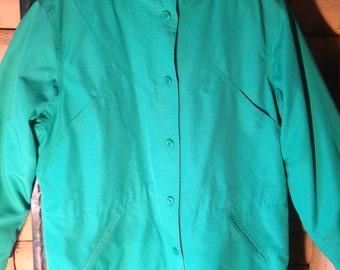 Vintage 80s 90s Green London Fog insulated rain jacket anorak funnel neck medium