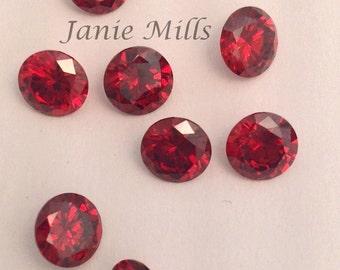 Garnet faceted gemstone 6mm round