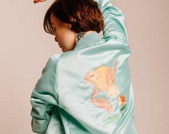 Embroidered Bomber-jacket , Japanese Style bomber-jacket, Mint Bomber-Jacket, Free shipping, Harajuku style, Designer bomber-jacket, Mint