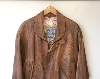 Unique Torino Vintage Brown Leather Jacket