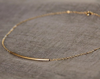 Delicate Long Gold Bar Necklace