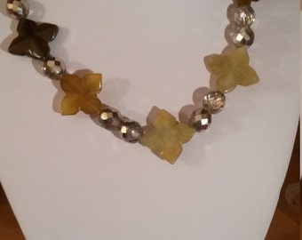 Quartz necklace autumnal hues with amber crystals