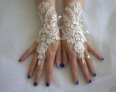 french lace, ivory, wedding gloves, bridal acceessories gloves,bridal gloves, free shipping!