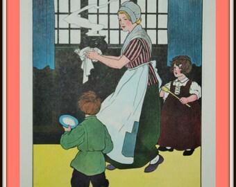 Mother Goose Print - Pease Porridge Hot - Vintage Book Print