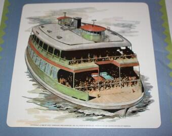 Large vintage flash card - Vintage Boat Print