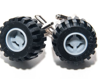 Grey Lego Wheel Brick Cufflinks With Gift Bag Car Tyre Brick