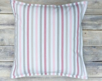 Pink Stripes Pillow with Cotton Cover 40x40 cm