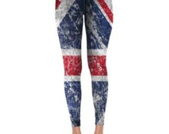British Flag Leggings,  Union jack leggings, Graphic leggings. womens leggings