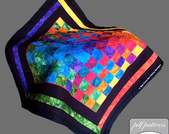 Woven rainbow quilt design and pdf pattern and tutorial