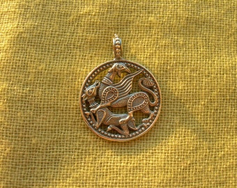"""Pendant """"Griffin and doe"""". Byzantine Gryphon."""