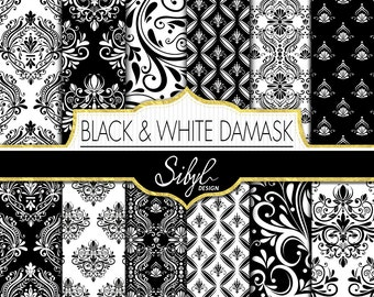 60% OFF SALE, White and Black Damask Wedding Digital Paper, Damask Digital Paper, Black Damask Crafts, Damask Scrapbooking