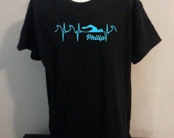 Swimmer Name Custom personalized  ,Tshirt  Swimming