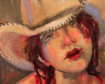 Oil painting of young Cowgirl with hat.
