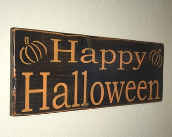 "Wooden Sign ""Happy Halloween"""