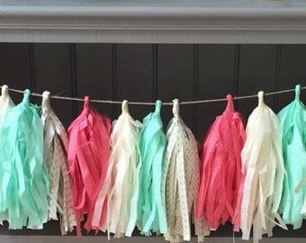 Tissue Paper Garland- Mint, Coral and Ivory- Wild One- First Birthday