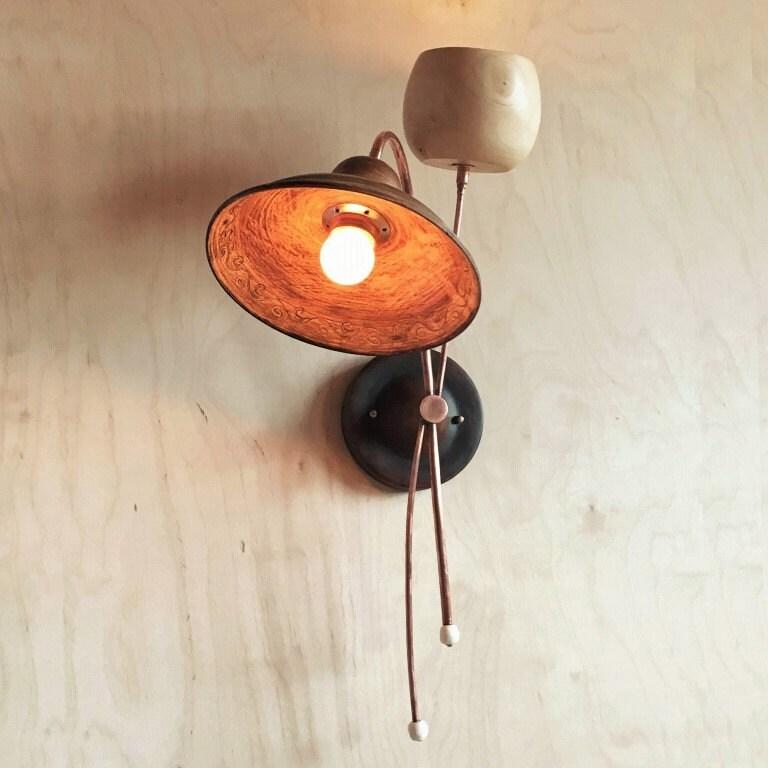 Wall lamp. Ceramics wood copper 2 lamp shade