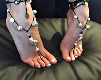 """Barefoot sandals """"Sparkling Black"""""""