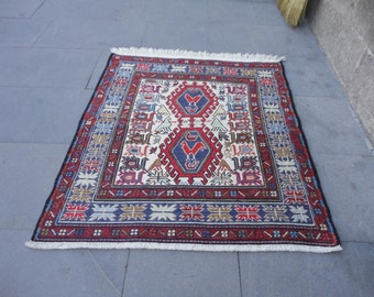 Persian small size,woven and brocaded rug,sumak,designed noah's ark,35 x 31 inches
