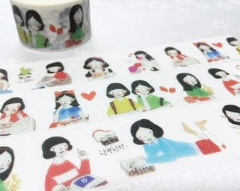 lovely girl washi tape 10M x 2.5cm cute girl teen girl pretty girl natural beauty masking tape girl planner sticker gift girl diary deco