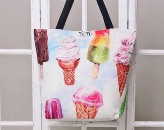 Handmade digital printed beach bag - watercolour pattern print - stylish beach bag ICECREAM