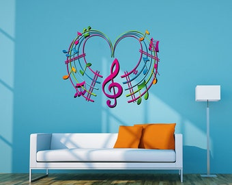 kcik288 Full Color Wall decal heart notes of the treble clef music bedroom living room