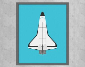 Space Shuttle Poster, NASA Poster, Aviation Nursery Decor, Airplane Nursery Decor, Gifts for Pilots, Boys Room Decor