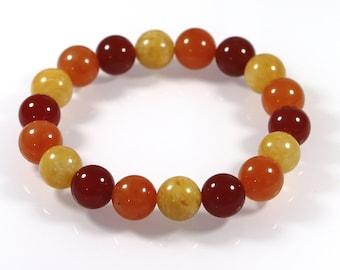 Genuine Red Cornelian Bracelet, Yellow and Red Aventurine, Stretch Bracelet, Healing Crystals, Elastic Beaded Bracelet, 10 mm, Mala Bracelet