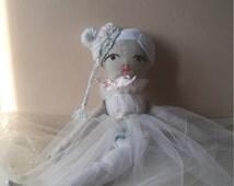 Mermaid cloth doll Poupée de chiffons sirene White