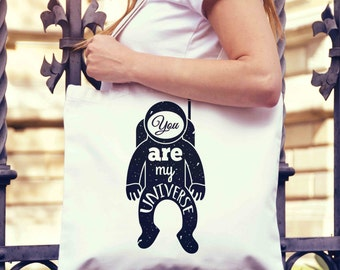 Spaceman You Are My Universe Tote Bag | Shopping Bag | Reusable Market Bag | Birthday Gift For Her & Him | Shopper Bag | Beach Grocery Bag
