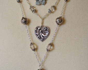 Three Strand Reclectic Necklace #3 in Silver and Chrystal