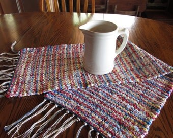 handwoven rag runner, rag runner, rag rug, hand loomed, table runner, dresser scarf, patriotic, red, white, royal blue