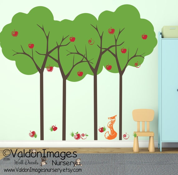 Summer apple tree and fox kids wall decal tree wall decal for Apple tree mural