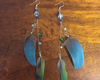 love bird and blue parrot feather earrings with Swarovski crystal beads