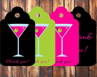 Thank You Tags - Bachelorette Party - Martini Themed - Instant Download - Print At Home - DIY - J0001