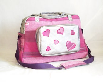 """Diaper Organizer pink and silver with applied """"hearts"""" bag"""