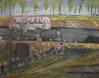 Vintage naivist oil painting landscape