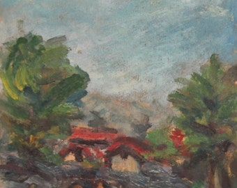 Antique expressionist oil painting landscape
