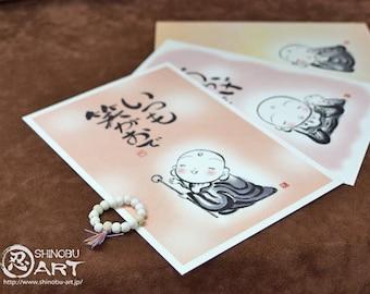 Printed Sumi-e Jizo Japanese Paper Postcards (Set of 3 Cards) and Handmade Ceramic Mini Buddhist Prayer Beads