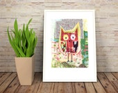 Cute Owl 1, Fine Art Print, Giclée, Red, Green, Yellow, Brown, Black, Animal art, Animal illustration, Home decor