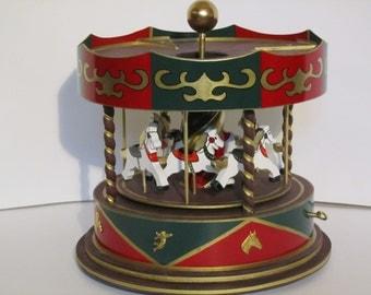 Green-red-Carosellino Miniature Merry Go Round-Music Box-Vintage