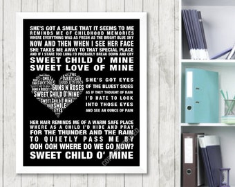 Guns N' Roses Sweet Child o' Mine Music Love Song Lyric Print Poster Canvas Word Art 2 Colours Heart Design Picture Gift Digital Download