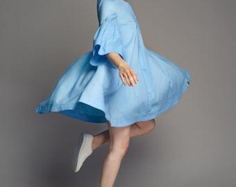 Size S-M, Oversized dress, Plus size, Mini, Cotton dress, Wide dress, Maternity dress, Pregnancy dress, Blue dress, Romantic Dress