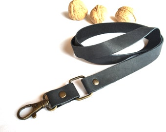 Black leather lanyard, Leather lanyard, id badge lanyard, lanyard, keychain, key holder, ID holder,Leather Neck Strap, leather keychain