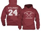 Stiles Stilinski 24 Teen Wolf Hoodie Beacon Hills Inspired Lacrosse Adult Fashion Maroon Hoodie