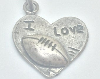 I Love Football Silver 925 Charm Vintage, Item 2- Free Shipping within USA