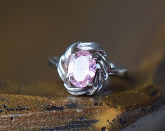Pink Gemstone Vintage Knot Solitaire Silver 925 Ring, US Size 5.0, Used