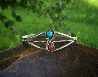 Turquoise and Coral Native American Feather Sterling Silver Dainty Cuff, Used Vintage