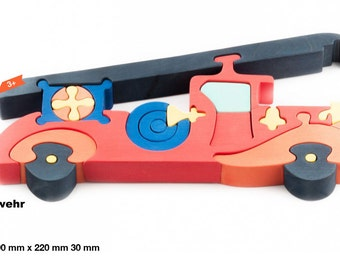 Wooden puzzle firetruck