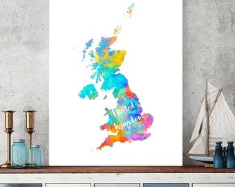 United Kingdom Map, UK Map Download,  Great Britain Wall Art Decor, Watercolor Map Print, England Gift, Printable Map